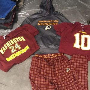 Redskins lot xl sweatshirt,flannel medium,2  shirt